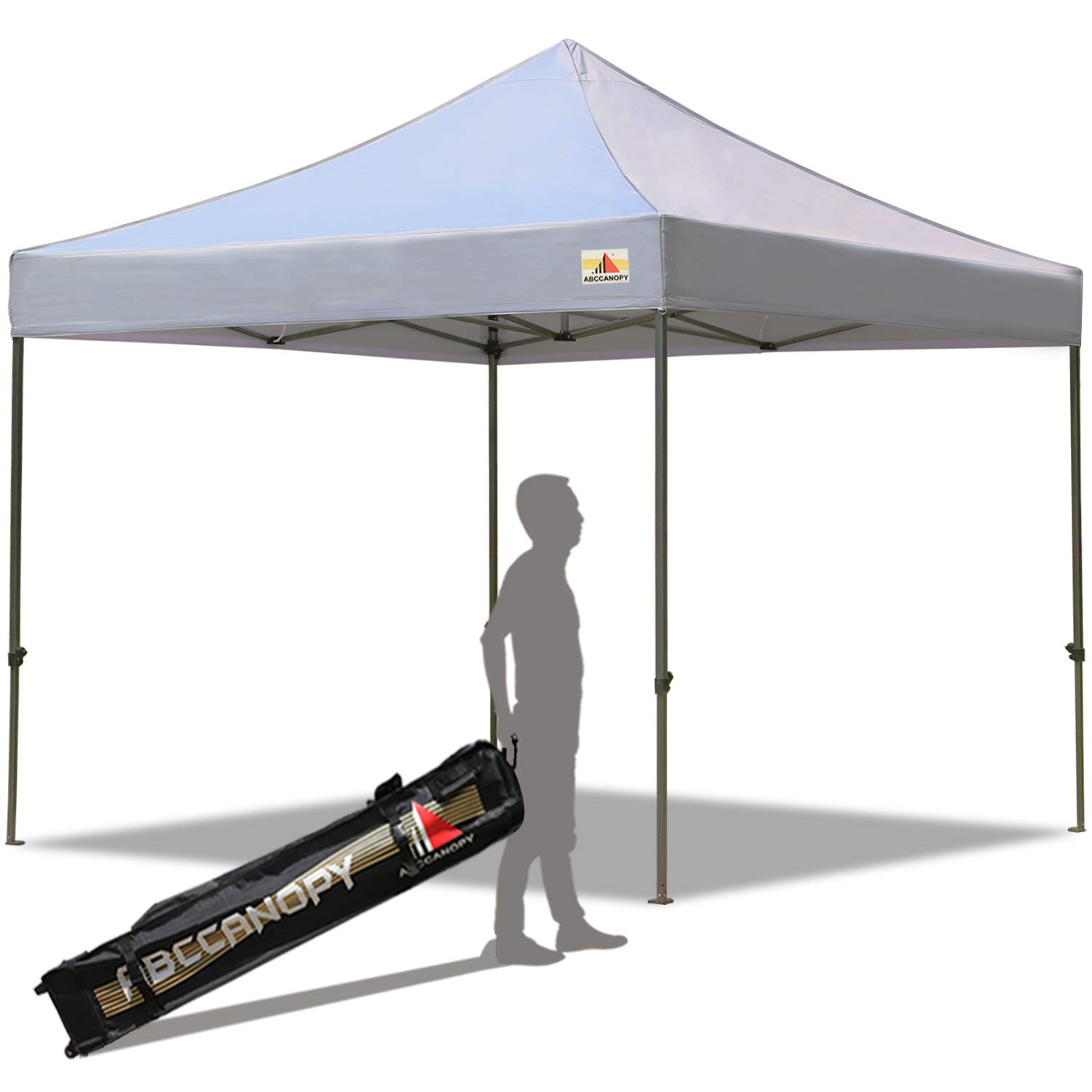 ABCCANOPY Pop up Canopy Tent Commercial Instant Shelter with Wheeled Carry Bag, 10x10 FT Gray