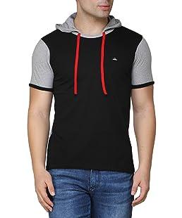 Fenoix Men's Cotton Hooded Half Sleeve T-Shirt (Black_ Small)