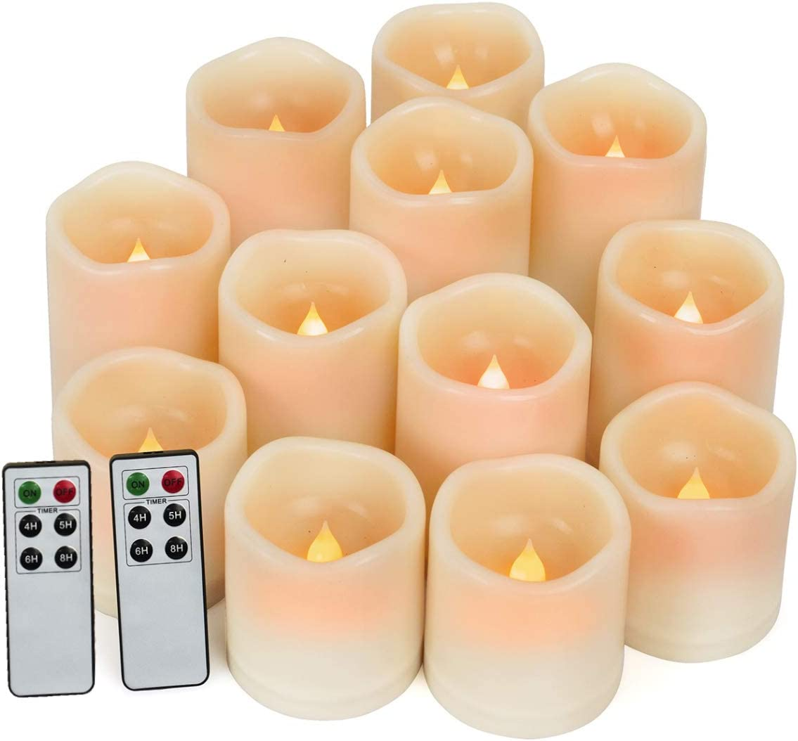 Flameless Candles, Led Candles Set of 12 Waterproof Outdoor Indoor Candles D 3 x H 3 4 5 Battery Operated Candles Flickering Bulb Pillar Candles with Remote Timer