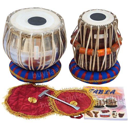 MAHARAJA Student Tabla Drum Set, Steel Bayan, Finest Dayan with Book, Hammer, Cushions & Cover (PDI-IB)
