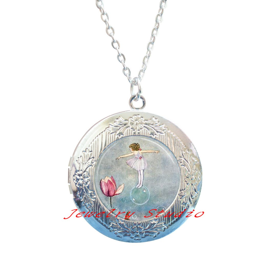 Charming fashion Locket Necklace,Flower Fairy Locket Necklace Woodland Fairies Fantasy Art Locket Pendant with Ball Chain-HZ0048