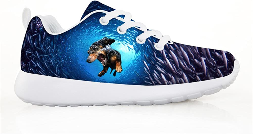 HUGS IDEA Animals Print Cute Kids Sneaker Blue Running Shoes
