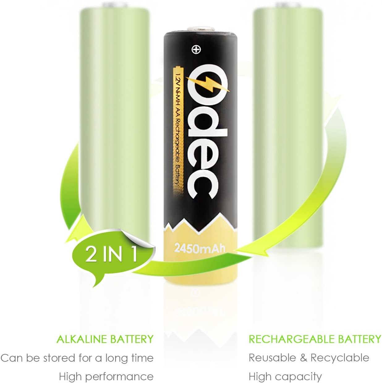 2450mAh Ni-MH Deep Cycle Battery Pack Odec AA Rechargeable Batteries 8-Pack
