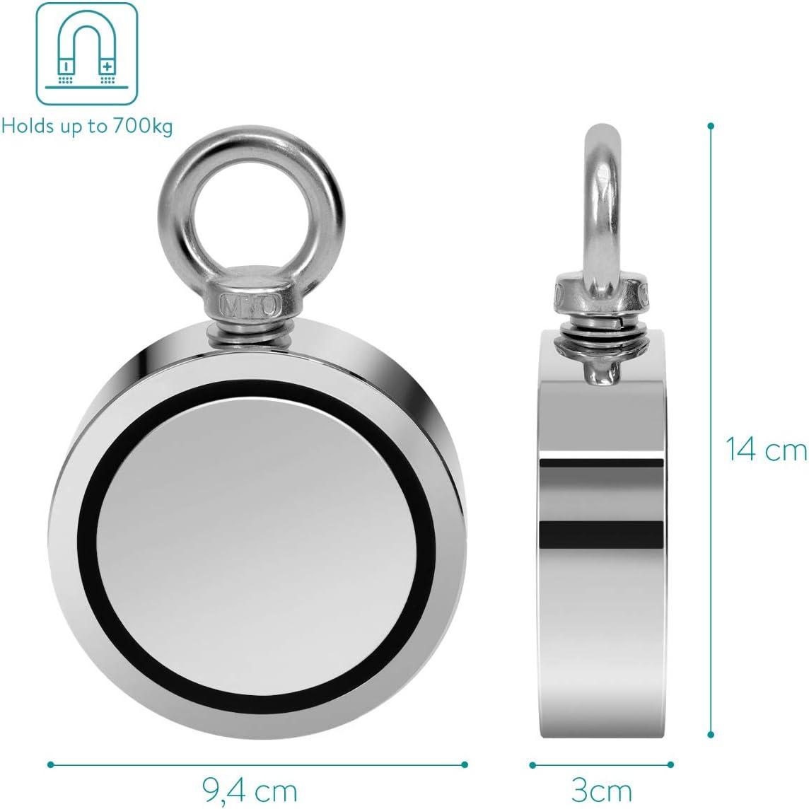 Navaris Angelmagnet doppelseitig mit 700kg Magnetzugkraft /Ösenmagnet Bergemagnet 9,4 x 3cm Neodym Magnet extra stark zum Magnetfischen