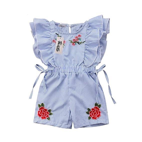 Wang-RX Cute Toddler Kids Baby Girl Flower Ruffle Romper ...