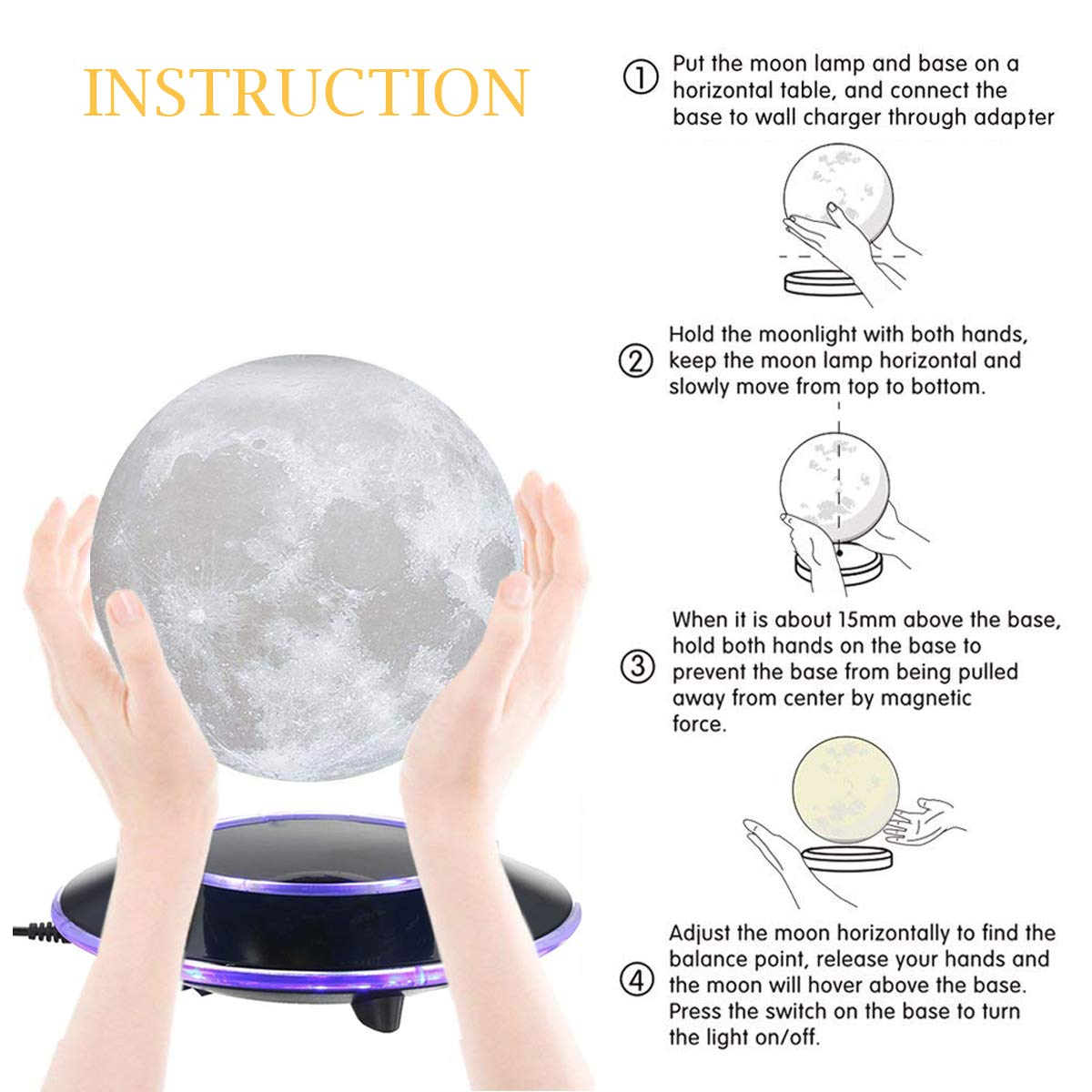 mono living Magnetic Levitating Moon Lamp Night Light 3D Print LED Auto Rotate Birthday Father's Day Gift Gift for Him Her Mother Family Couple Daughter TeenGirl Boyfriend Girlfriend 5.9'' by mono living (Image #3)