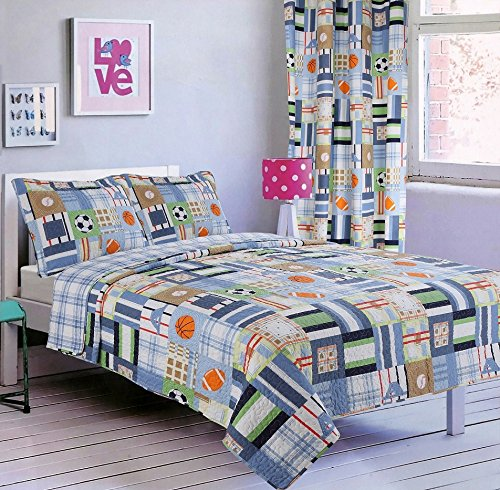 2pc Twin Size Printed Bedspread Set with Matching Curtain