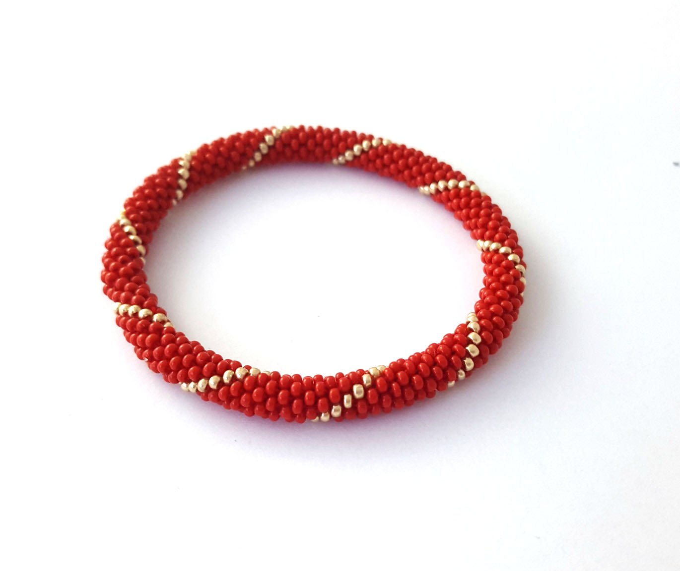 Red Gold Roll On Bracelet Nepalese Bangle Beaded Wristband
