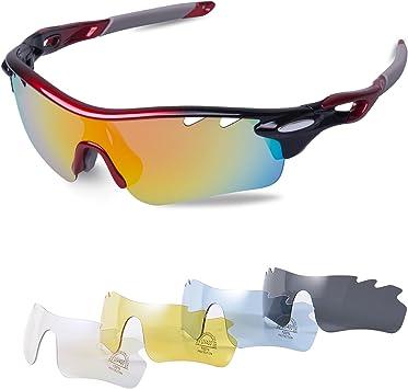 Gafas Ciclismo Polarizadas con 5 Lentes Intercambiables Gafas de Sol Deportivas Antivaho Antireflejo Anti Viento y UV Adaptadas a Deporte Carrera Running Bicicleta MTB para Hombre y Mujer: Amazon.es: Deportes y aire