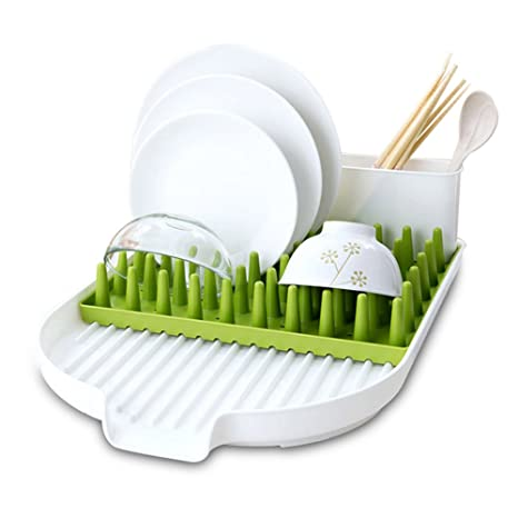 ALPHELIGANCE Kitchen Sink Dish Drainer Tot Bottle Accessories Drying Rack  With Drainboard 3 Piece Set