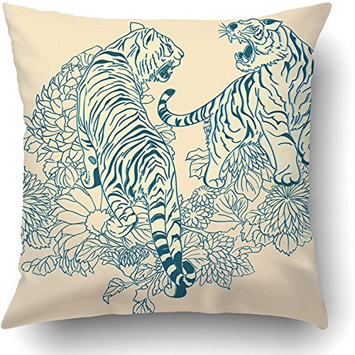 (Throw Pillow Covers White Tattoo Two Tigers in The Chinese Style Blue Asian Japan China Aggressive Animal Bright Fangs Polyester 18 X 18 Inch Square Hidden Zipper Decorative)