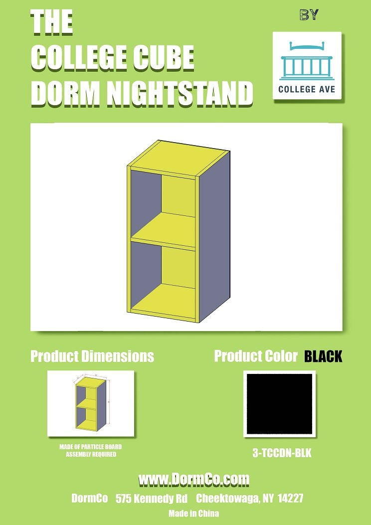 The College Cube - Nightstand - Black Color DormCo
