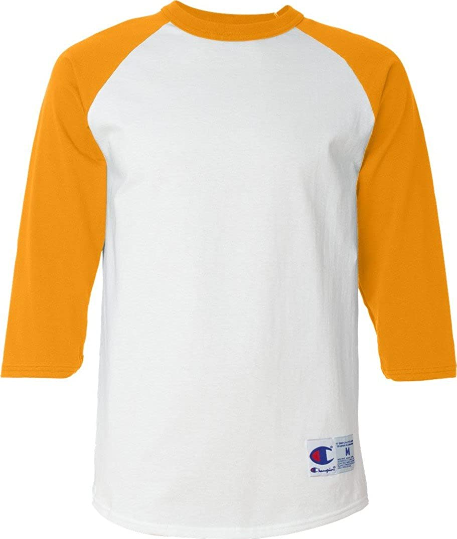 a40b1d8e0bba5 Champion Men's Tagless Baseball Raglan T-Shirt, white/c gold, Medium |  Amazon.com