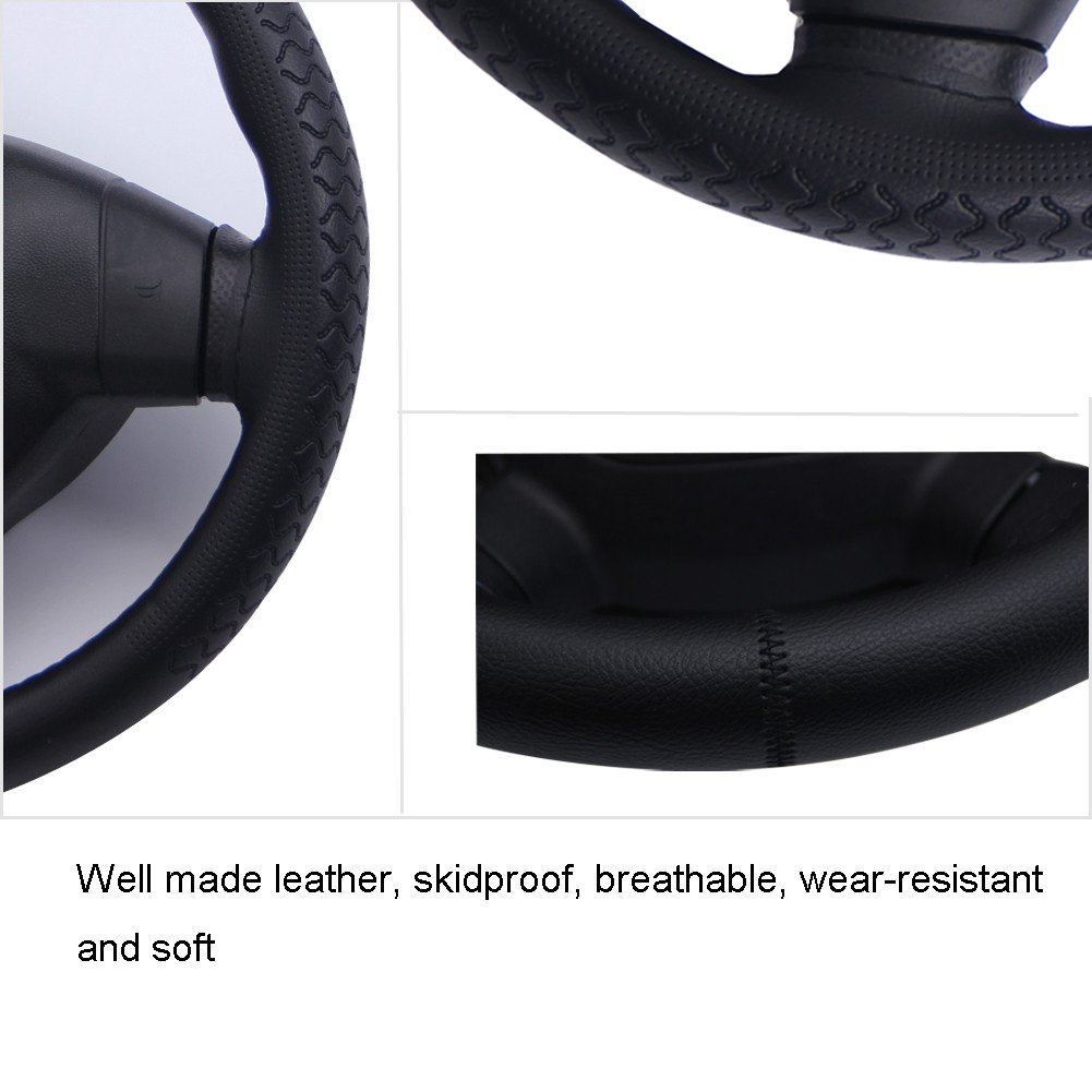 Lace Steering Wheel Covers ZATOOTO Leather Steering Wheel Cover Black DIY Car Steering Wheel Covers Soft 37-38cm//15inch SA0720BL Thin