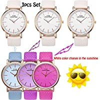 Yunanwa 3 Pack Women Watches Simple Analogue Solar Temperature Color Changing Watch Leather Band Girls