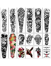 Yazhiji Wyjątkowo duże tymczasowe tatuaże 8 arkuszy Fake Tattoos z pełnym ramieniem i 8 arkuszami naklejek z półramieniem dla mężczyzn i kobiet (58 x 18 cm)
