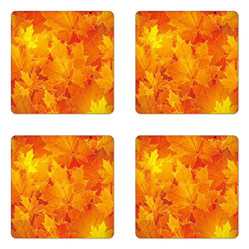 Ambesonne Fall Coaster Set of Four, Seasonal Maple Tree Leaves Botanical Foliage Vibrant Floral Forest Texture Image, Square Hardboard Gloss Coasters for Drinks, Orange Yellow