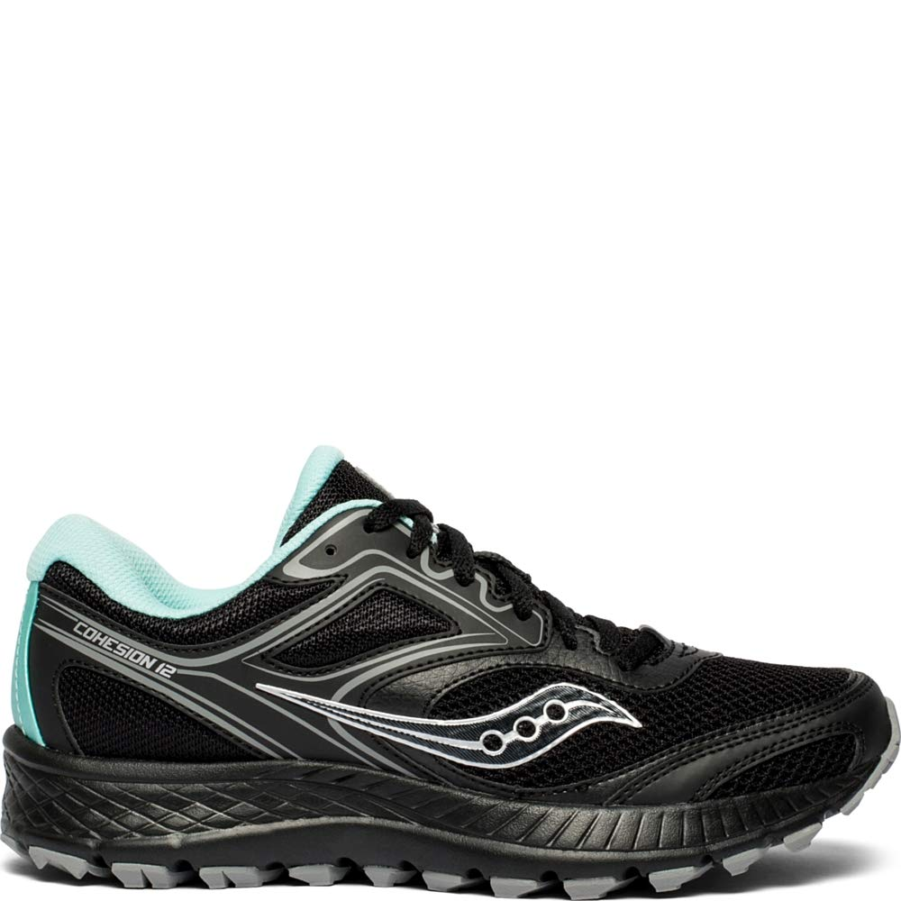 Saucony Women's VERSAFOAM Cohesion TR12 Trail Running Shoe, Black/Teal, 5.5 W US