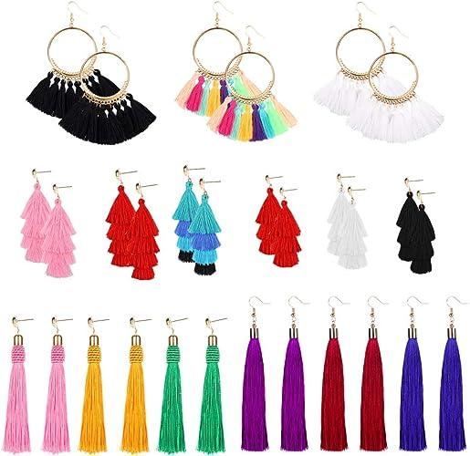 HOT Women Fashion Vintage Boho Fan-shaped Long Tassel Fringe Dangle Earrings FR