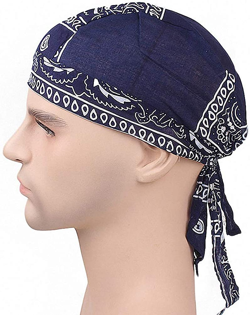Ulalaza Breathable Bandana Hat Cotton Durag Headwrap Pirate Cap Skull Caps Mens Womens