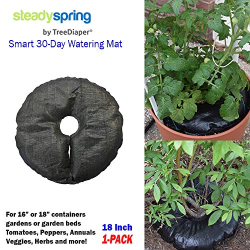 SteadySpring by TreeDiaper Smart 30-Day Watering Mat for Tomato Plants, Peppers, Veggies, Perennials, Annuals - Self-Fills with Rain (1) ()