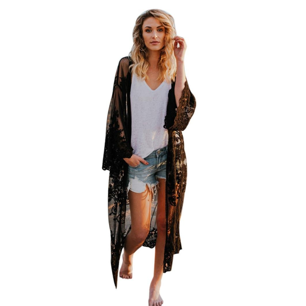 YJYDADA Women Lace Bohemian Beach Long Oversized Kimono Coat (Black)