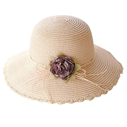 b8d29618 Image Unavailable. Image not available for. Color: Antty Korean Casual  Fashion Women Ladies Summer Wide Brim Straw Hat Floppy Beach Sun Foldable  Cap