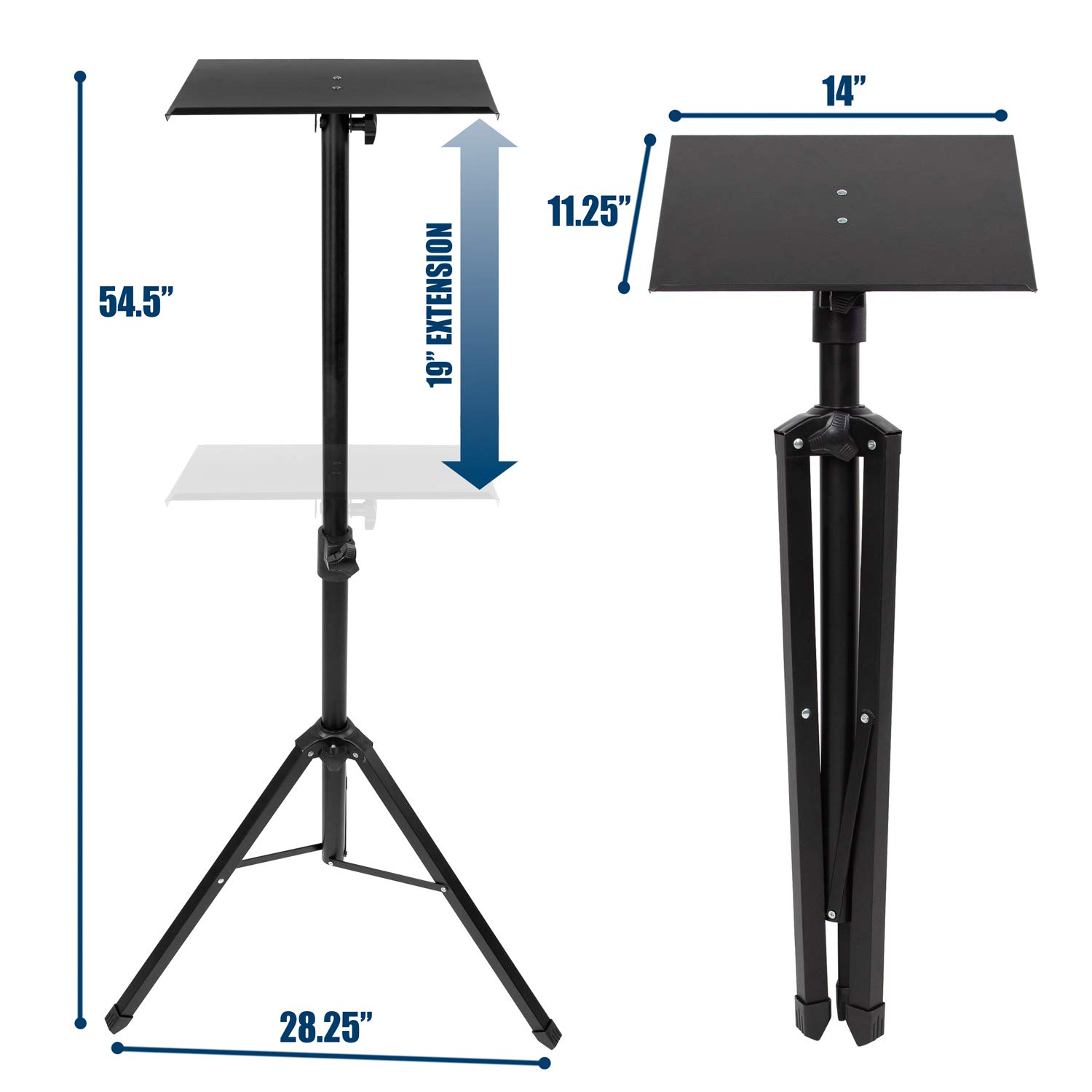 Mount-It! Tripod Projector Stand, Adjustable DJ Laptop Stand with Height and Tilt Adjustment, Portable Laptop Projector Table with Steel Tripod Base and Tray, Black by Mount-It! (Image #7)