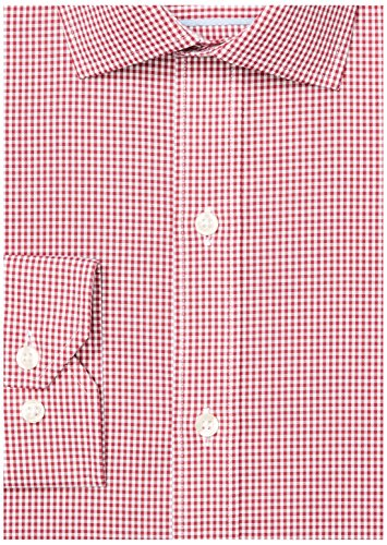 Buttoned Down Men's Tailored Fit Spread-Collar Pattern Non-Iron Dress Shirt, Burgundy Small Gingham, 15'' Neck 33'' Sleeve by Buttoned Down (Image #6)