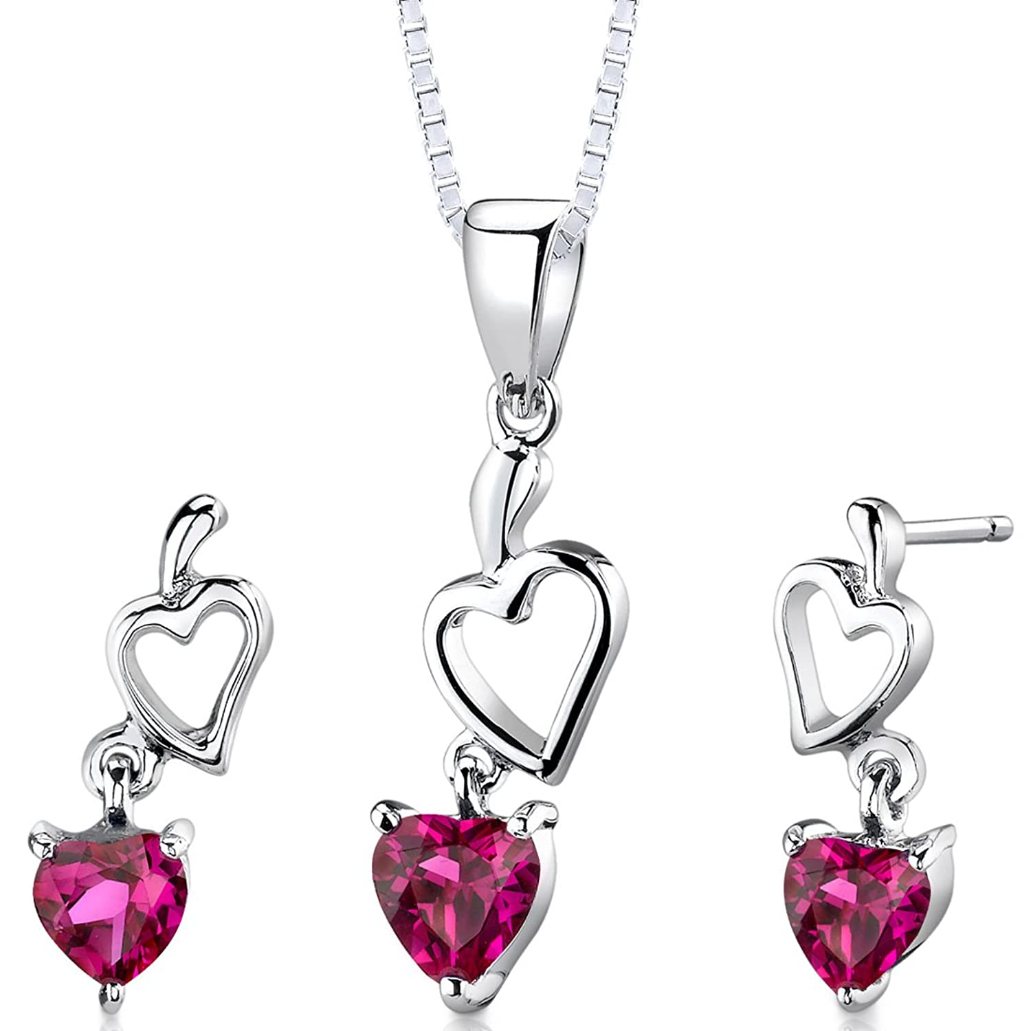 Sterling Silver Rhodium Nickel Finish Heart Shape Created Ruby Pendant Earrings Set