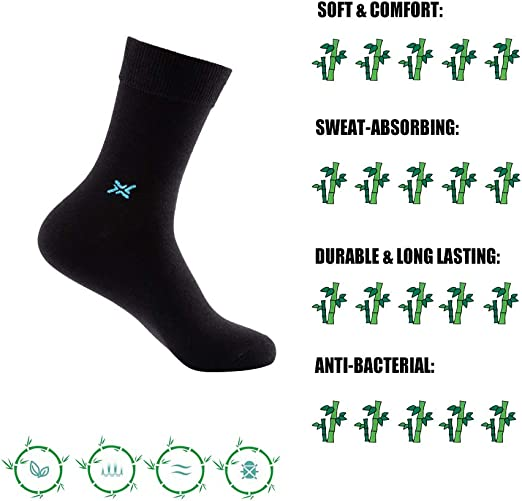 Wantmax Mens Casual Dress Socks Moisture Wicking Crew Socks Size 6-13 6 Pairs