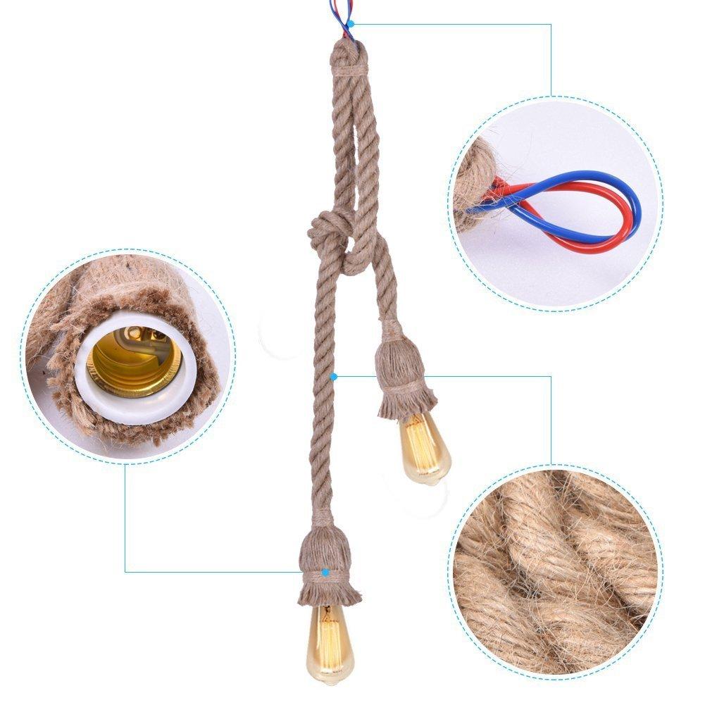 Rope Chandelier Pendant Light Ceiling Lamp E27 Base Lamp Cord Retro Style DIY Home Decoration Double Head