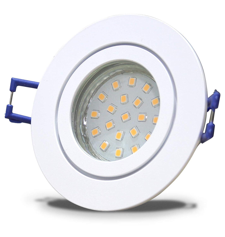 6 Stück IP44 SMD LED Bad Einbaustrahler Neptun 230 Volt 9Watt Rund Weiß Neutralweiß