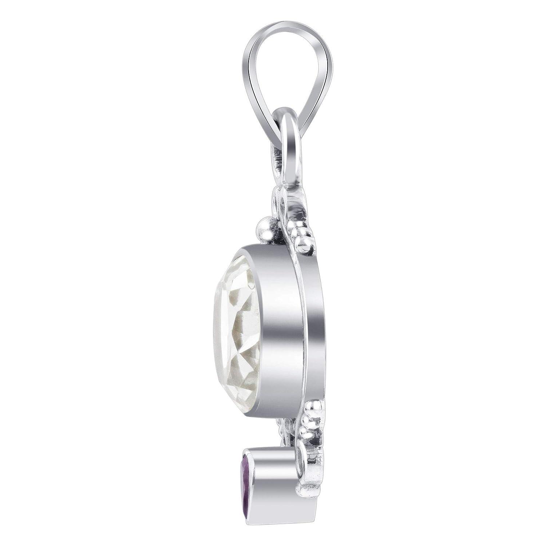 Gem Avenue Sterling Silver Oval Shape Clear Gemstone Pendant