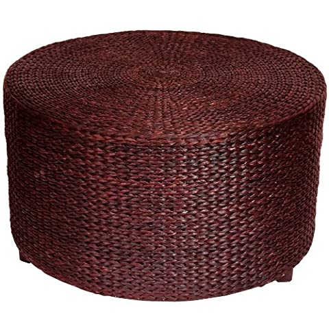 Oriental Furniture Rush Grass Coffee Table/Ottoman - Red Brown (Brown Ottoman Round)