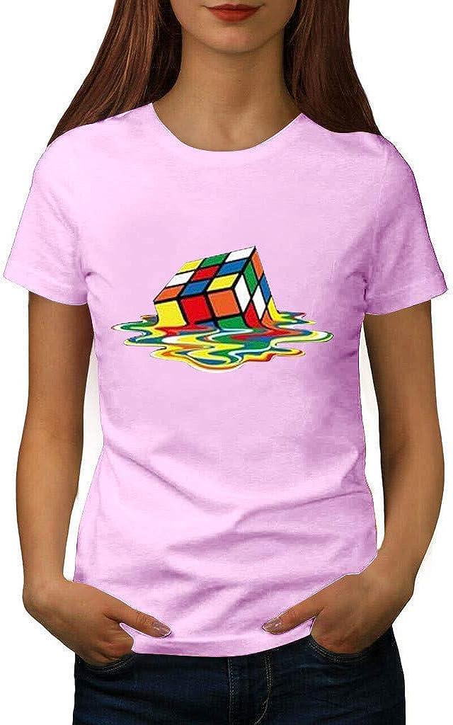 Honestyivan Womens Rubiks Cube Print Crew Neck Short Sleeve T-Shirt Top Casual Thin Shirt Summer