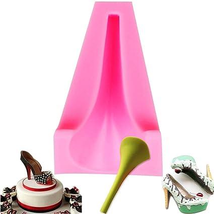 Molde de silicona 3D de tacón alto de zapatos de mujer para decoración de tartas de
