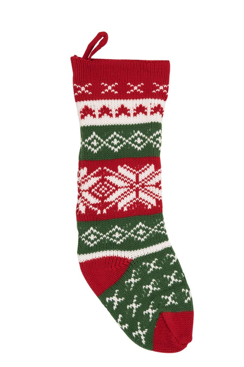 Transpac Knit Fabric Christmas Stocking