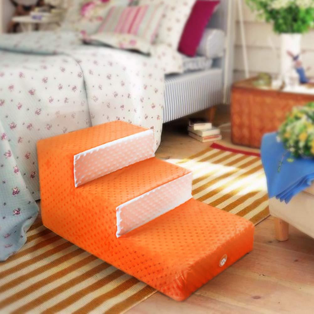 orange 3 Steps Dog Steps Sponge Pet Stairs Removable Plush Cover Anti-Slip Dog Stairs Breathable Versatile Soft Pet Bed Ladder Sofa Bed Ladder-orange 67x40x33cm(26x16x13inch)