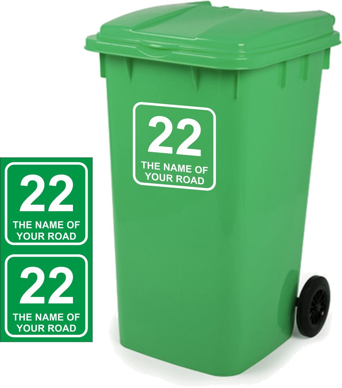 Wheelie Bin Stickers Personalised Pack of 2 Signs Size 18cm x 18cm D3 Vinyl Signs Direct