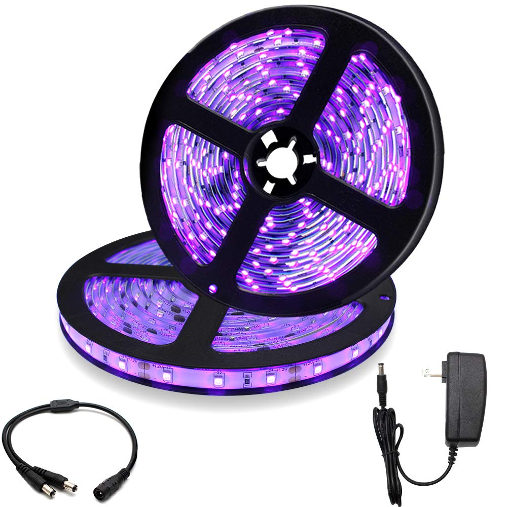 33Ft/10M 24W LED UV Black Light Strip Kit, 600 Units UV Lamp Beads, 12V Flexible Blacklight Fixtures, 395nm-405nm Non-Waterproof for Indoor DJ Fluorescence Party, Body Paint, Posters, Night Fishing