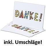 10x naturweiße moderne Dankeskarten DIN A6 // Einfachkarten / Postkarte // Inklusive weißen Umschlägen // 14,8 x 10,5 cm
