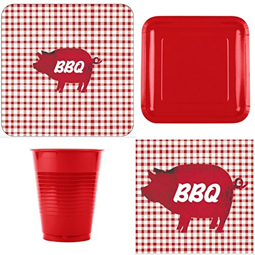 FAKKOS Design BBQ Pig Picnic Party Gingham Dinner Supplies Dinner Dessert Plates Napkins Cups for 16 People