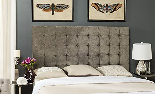 Safavieh Mercer Collection Lamar Greige Tufted Velvet Headboard