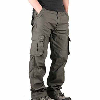 5a67943a0a0 Stunner Men s Summer Casual Loose Multi Pocket Solid Cargo Pants CN Army  green 30