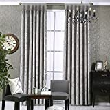 pureaqu Blackout Curtains Thermal Insulated Grommet Window Curtain Panels For Bedroom Room Darkening Energy Saving Heavyweight Drapes For Living Room,Grey 1 Panel W100xH98 Review