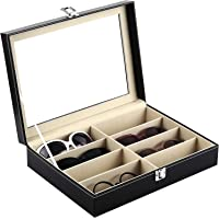 Fleece-Lined Eight-Compartment Acrylic Lid Eyeglasses Storage and Sunglass Glasses Display Drawer Lockable Case…