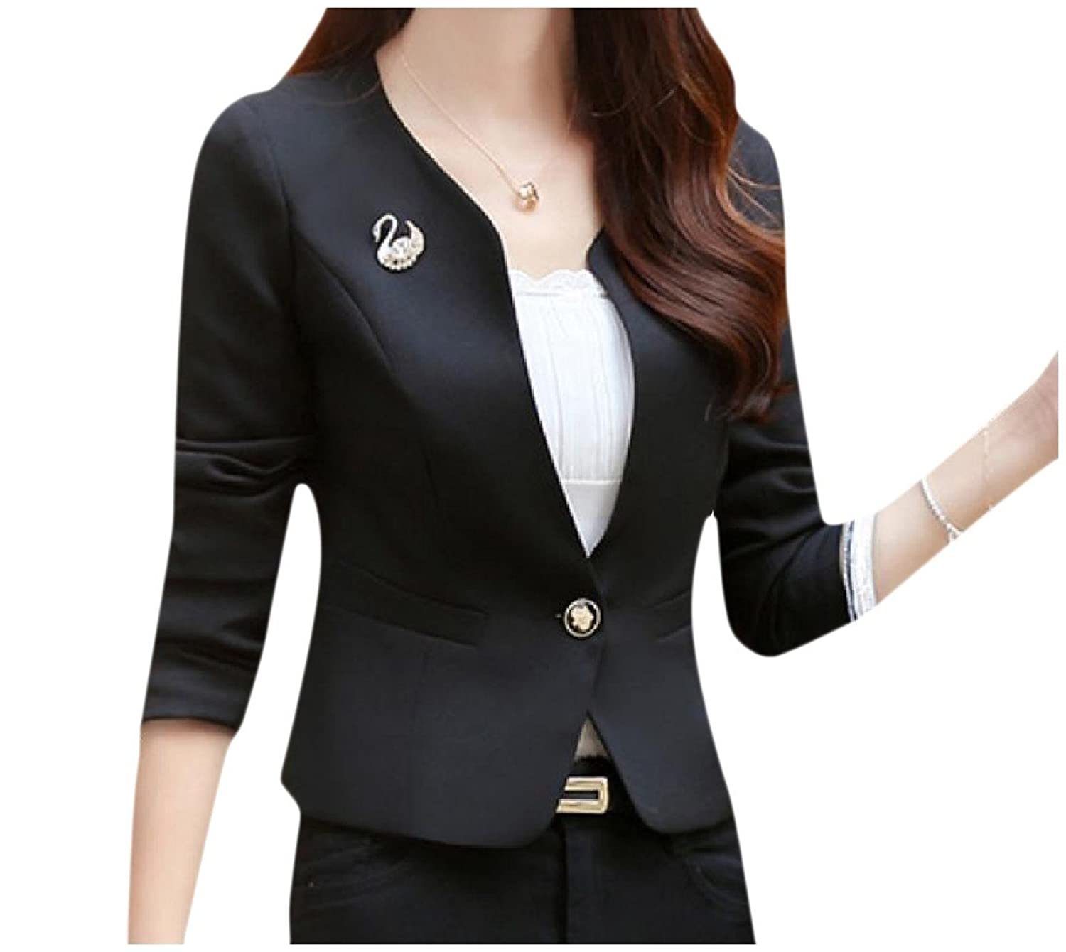 Sexybaby Women's All-Match Solid Color O-Neck Suit Jacket Blazer Coat
