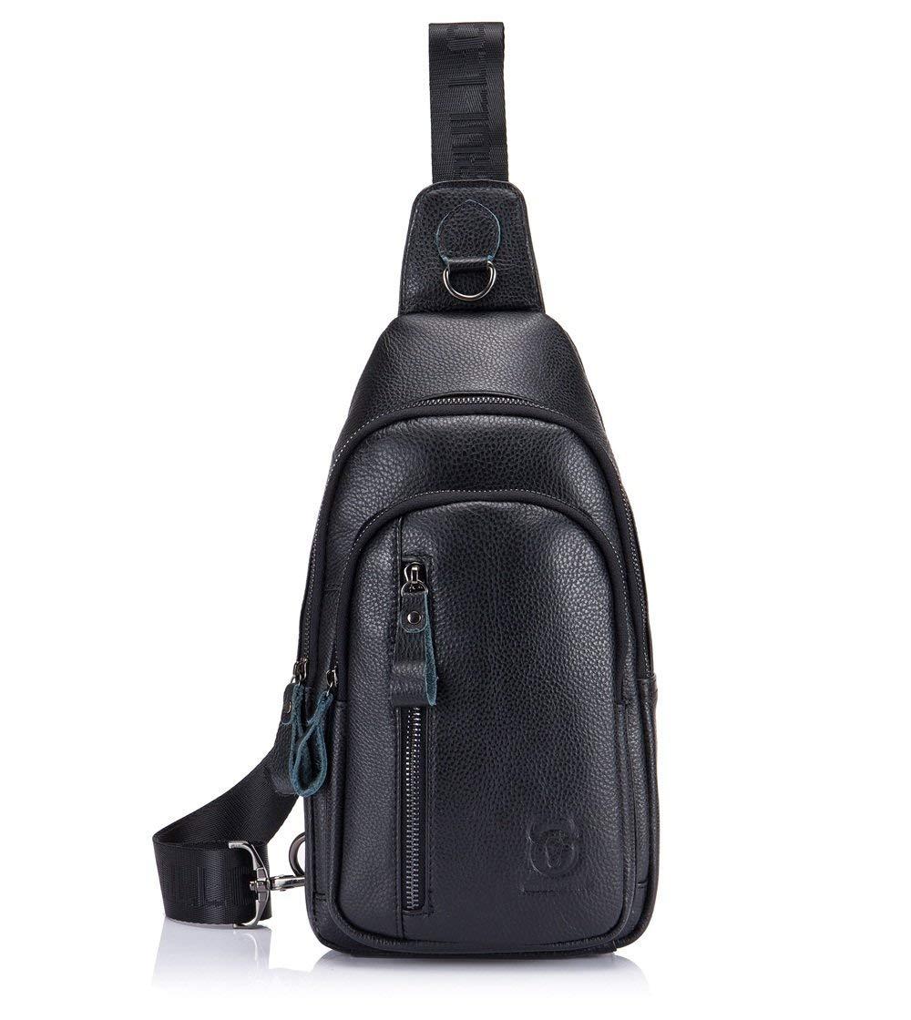 BULLCAPTAIN Men's Genuine Leather Shoulder Sling Bags Backpack Outdoor Casual Daypack Crossbody Bag (Black) [並行輸入品] B07R4TK863
