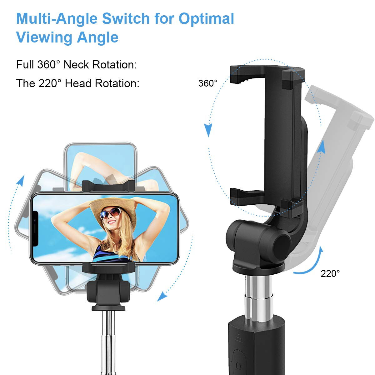 pour iPhone XS Max sans Batterie, sans Bluetooth Abafia Perche Selfie Huawei Mate 9 et Android /&syst/ème iOS 3.5-6.0 -Noir Glaxy A6 2018 // S9 Plus B/âton Selfie R/églable//Extensible avec C/âble